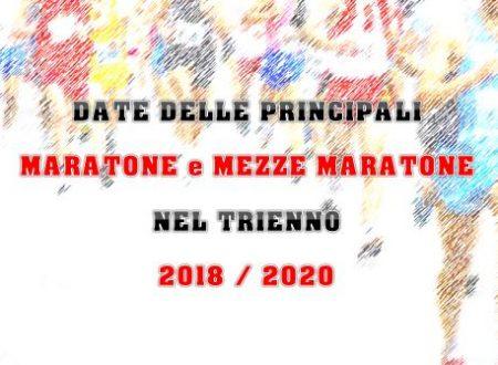 Le date 2018-2020 delle principali Maratone e Mezze