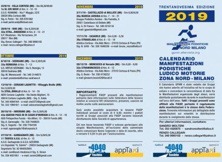 G.P.N.M. Manifestazioni Podistiche Zona Nord MILANO 2019