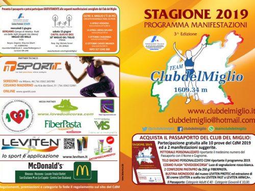 Club del Miglio 2019 – Calendario Gare