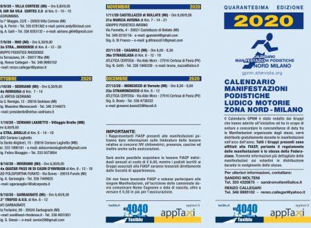 G. P. N. M. 2020 Manifestazioni Podistiche Zona Nord MILANO